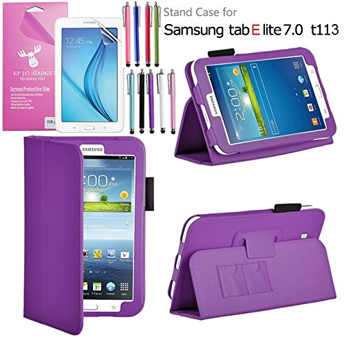 Galaxy Tab E Lite 7.0 Case, EpicGadget(TM) Galaxy E Lite Premium PU Leather Folding Folio Cover Case with Built in Stand For Tab E Lite 7 inch T113 + Screen Protector + 1 Stylus (Purple Leather Cover) (Forros Galaxy Tab 3)