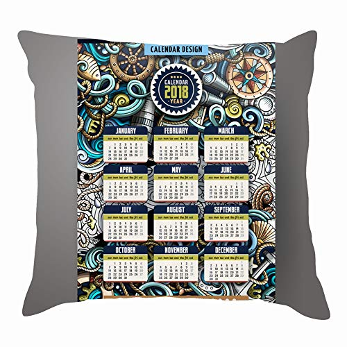 Hpink Throw Pillow Covers Cartoon Colorful Hand Drawn Doodles Nautical Business Finance Calendar Business Finance Transportation Calendar Transportation Cushion Case 18 x 18 Inch 45 x 45 cm