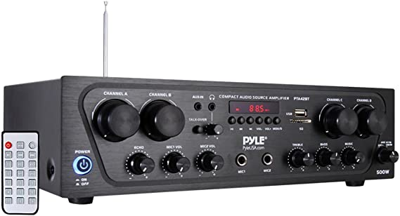 Pyle Wireless Karaoke Bluetooth Stereo Receiver - 4 Channel Power Amplifier w/ USB