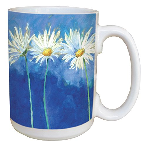 Daisies on Blue Floral Coffee Mug - Large 15-Ounce Ceramic Cup, Full-Size Handle -  Nel Whatmore - Gift for Flower Lovers - Tree-Free Greetings 45585 - Daisy Coffee Cup