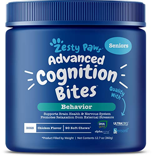 Zesty Paws Advanced Cognition Soft Chews for Dogs – with Omega 3 DHA, Ashwagandha & Alpha GPC – for Senior Dog Brain Health & Nervous System Support – Supplement for Calming & Relaxation – 90 Count