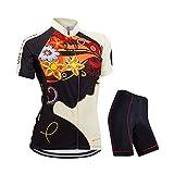ZEROBIKE® Women Breathable Short Sleeve Cycling Jersey Full-Zip 3D Gel Padded Shorts Sportswear