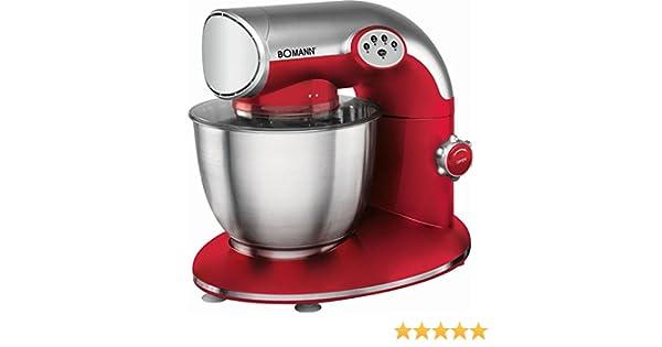 Robot de cocina con cambio de marchas amasadora electrónico en rojo Licuadora para amasar Máquina de nieve escoba Licuadora (Potente 1200 W + Cuenco 5,6 litros Acero inoxidable para Max. 2,5 kg