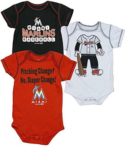 Miami Marlins MLB Infants 3 Pack Bodysuit Set (0-3 Months)