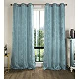 RT Designers Collection Tina Jacquard 76 x 84 in. Grommet Curtain Panel Pair, Blue (Set of 2)