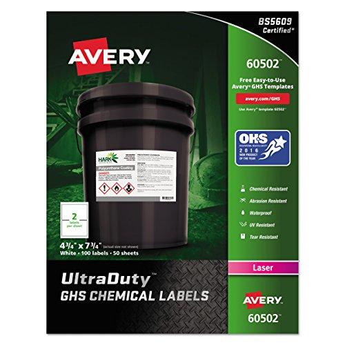 Avery UltraDuty GHS Chemical Labels for Laser Printers, Waterproof, UV Resistant, 4.75 x 7.75, 100 Pk(60502)