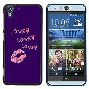 Stuss Case / Funda Carcasa protectora - Corazón púrpura del beso de los labios rosados ??de San Valentín - HTC Desire Eye M910x