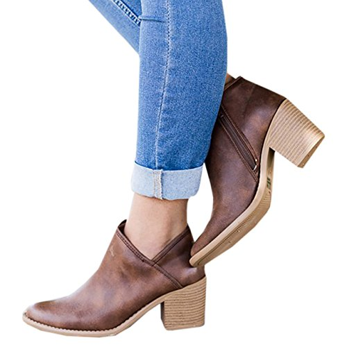Womens Cut Side Boots Pointed Chunky Zipper High 2 Booties Toe Block Heel brown V Ankle qrXqUtwZ