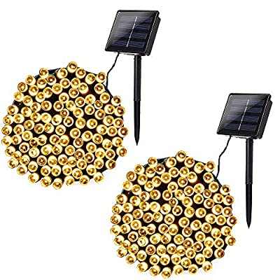 Joomer 2 Pack Solar String Lights 72ft 200 LED 8 Modes Solar Powered Christmas Lights Waterproof Decorative Fairy String Lights for Garden, Patio, Home, Wedding, Party, Christmas(Warm White)