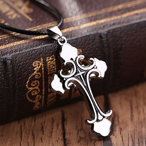 Fashion Unisexs Men Stainless Steel Cross Necklace Pendant Chain Jewelry Gift, Color Black