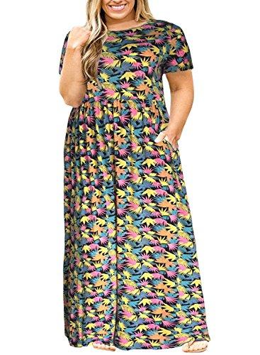 with Dress Yellowprint Maxi Plus Women Long Plain Loose Size Nemidor Short Sleeve Casual Pockets ZCwxqP