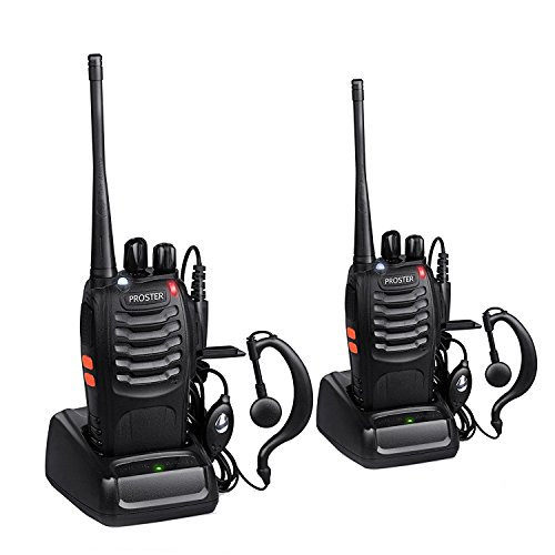 Proster Rechargeable 16 Channel Walkie Talkie with Earpiece and USB Charger, 1 Pair