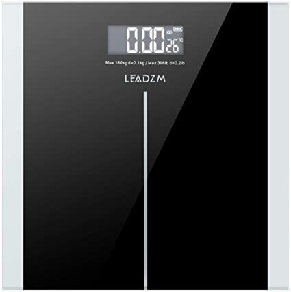 Black Digital Body Fat Analyser Scales BMI 180kg LCD Weighing Scale Weight Loss