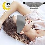 Memory Foam Sleep Mask - Light Blocking Eye Mask for Sleeping Blackout Padded Design Sleeping Mask Super Soft Velvet Night Blindfold Comfortable Lightweight Adjustable Eyeshade for Men Women (Grey)