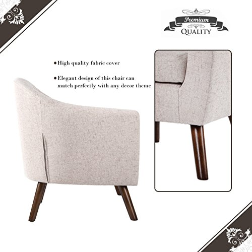 Merax Stylish Upholstered Button Tufted Fabric Leisure Living Room Accent Chair with Armrest and Bonus Soft Seat Cushion (Beige)