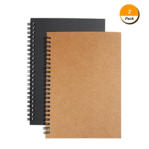 Soft Cover Spiral Journal Notebook (2-Pack), Alloyseed Wirebound Memo Notepads Blank Sketchbook Diary Notebook Planner Unlined Paper, 100 Pages, 50 Sheets (Black+Brown)
