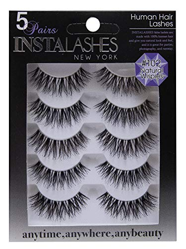 Natural Wispies: Handmade Reusable False Eyelashes, 100% Human Hair Super Soft Lashes (102)