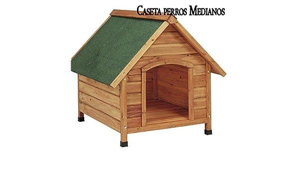 Suministros Infantes CASETA de Madera para Perros MEDIANOS a 2 Aguas. Medidas ext. 78x88x81 cm, INT. 59x64x68 cm. Gran Durabilidad y Resistencia.