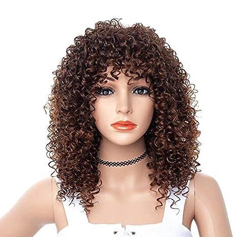 DakTou Pelucas Rizadas Afro Mujer Peluca Pelo Natural Corto Peluca Bob Sintetica T4/3B #