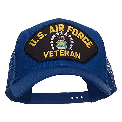 - US Air Force Veteran Military Patched Mesh Cap - Royal OSFM