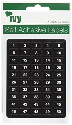 IVY SELF ADHESIVE LABEL'S 1-500 [6 OF EACH NUMBER = 3000 LABELS]