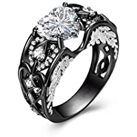 LALISA Heart Cut Lab-created Black Wedding 925 Silver for Women Angel Wing Ring #6-10 (7)