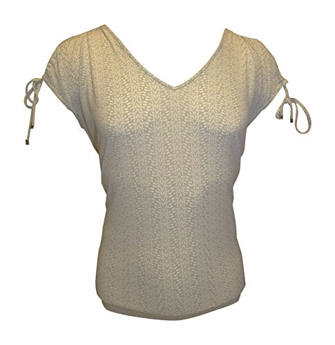 Ivanka Trump Women's Printed Cold-Shoulder Matte Jersey Top (Large, Light ()