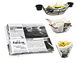 Mannily Food Grade Tissue Paper Food Basket Liners - Newsprint 200 sheets 8.66'' x 8.66''