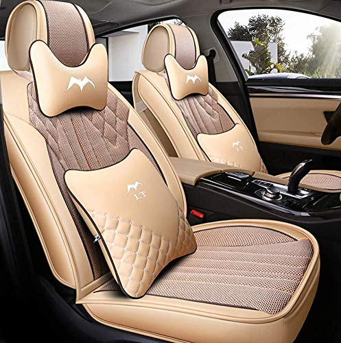 Leather Car Seat Cushions 5 Seats Full Set - Anti-Slip Suede Backing Universal Fit Covers Adjustable Bench (Color : Beige):