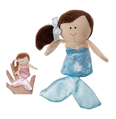 Brown Haired Mermaid With Light Blue Dress Finger Puppet - By Ganz