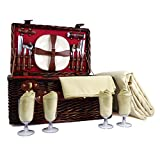 Trafalgar Red 4 Person Wicker Picnic Basket Set with Accessories and Cream Fleece Picnic Blanket - Gift ideas for Valentines, him, her, Birthday, Wedding, Anniversary, Corporate, Business, Vacation