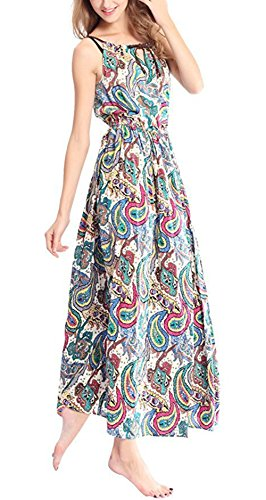 DILANNI Women's Summer Casual Floral Print Racerback Sleeveless Tunic Maxi Dress On Clearance Drawstring Silk Tunic