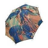 YUMOING Paint Graffiti Mural Wall Art Creative Unique Umbrella Semiautomatic Foldable Umbrella Foldable Travel Rainy Sunny Gift