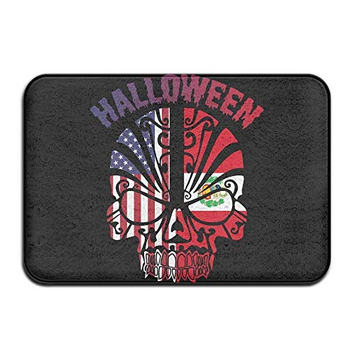 16x24 Inch Non Slip Door Mat, Halloween Peru American Flag Skull Decorative Garden Hallways Bathroom Mat, Inside/Outside Carpet Entrance Mat -