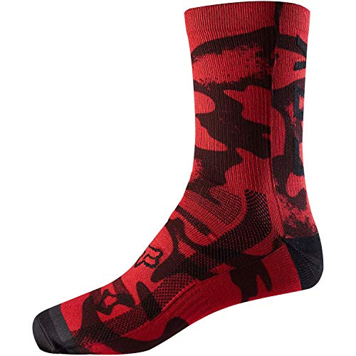 Fox Racing Print Trail 8in Sock Red/Black, S/M - Men's