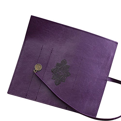 Futemo Women Girls Retro Vintage Cosmetic Bag, Roll Leather Make Up Cosmetic Pen Pencil Case Pouch Purse Bag Box Handy Organizer (Purple)