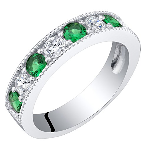 Sterling Silver Simulated Emerald Milgrain Half Eternity Ring Band Size 7