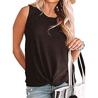 Zando   Women Tank Top Twist Knot Tops Cute Knit Tops Casual Loose Tops Sleeveless Knit Top Basic Shirts Waffle Top - Black - Small