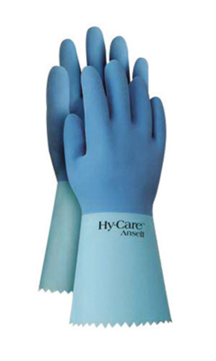 Ansell Size 8 Blue FL200 Flock Lined 20 mil Latex And Rubber - Pack of 12