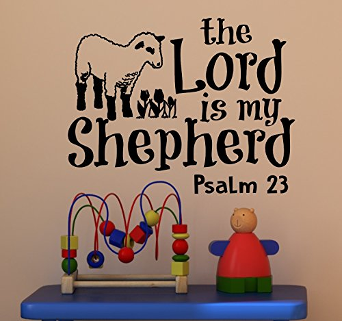 Psalm 23 for Kids Wall Decal is a Vinyl Poster Wall Decor Displaying a The Lord is My Shepherd Bible Quotes Inspirational Wall Art for Women, Men or Children's Room - Green by WallDecalsAndArt (Image #5)