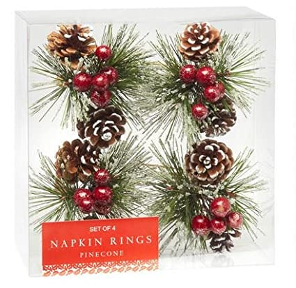 Snowy Pinecone Napkin Rings, Set of 4 Nantucket home