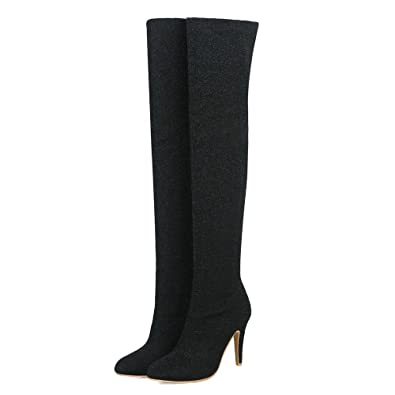2d3285d0629 AnMengXinLing Women Over The Knee Dress Boots Glitter Stiletto Pointy Toe  Slip On Stretchy Thigh High