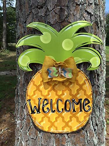weewen Summer Door Hanger Pineapple Door Hanger Spring Door Hanger Birthday Door Hanger Cute Door Hanger Child Door Hanger Whimsical Door Hanger Wood Signs for Quote Garden Plaque Sign