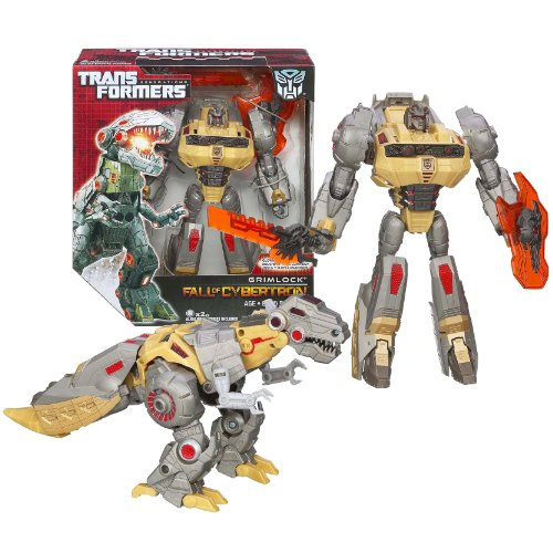 Hasbro Cybertron Transformers (Hasbro Year 2012 Transformers Generations Fall of Cybertron Series 01 Voyager Class 7 Inch Tall Robot Action Figure Set #003 - Autobot GRIMLOCK with Glowing Eyes and Mouth, Chomping Jaw, Sword and Shield (Beast Mode: Tyrannosaurus Rex))