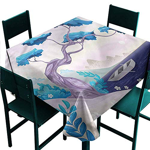 - DONEECKL Restaurant Tablecloth Coastal Bonsai Tree Water Lilies Party W36 xL36