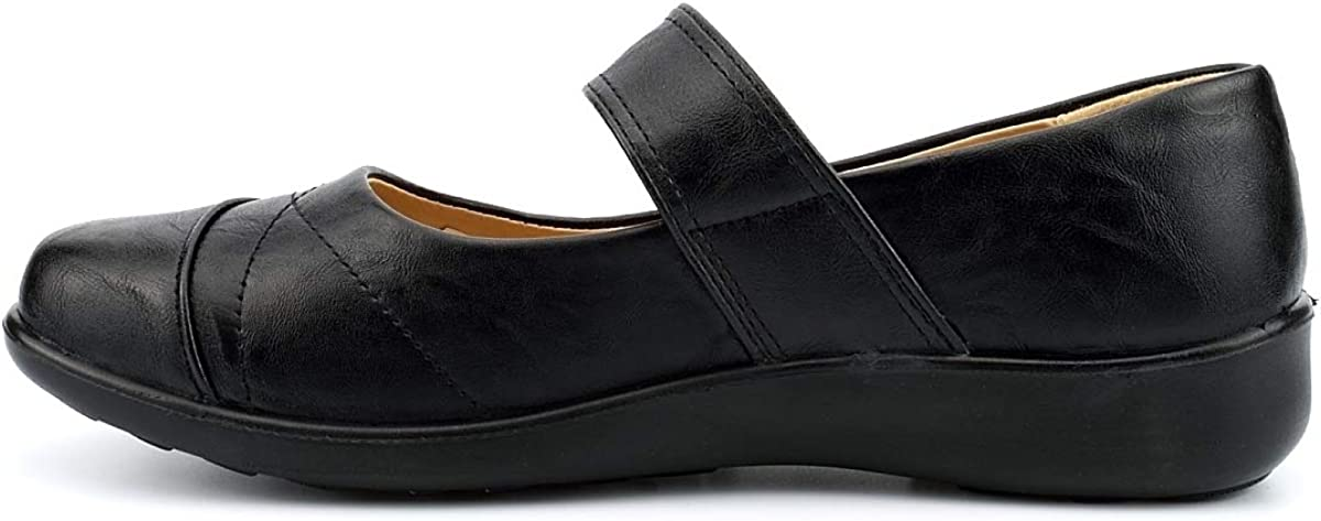 Dr Lightfoot Womens Touch Fastening Comfort Shoes Black