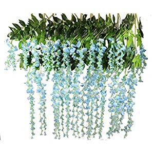 Lannu 12 Pack 3.6 FT Artificial Fake Hanging Wisteria Vine Ratta Silk Flowers String for Home Wedding Party Decor 16