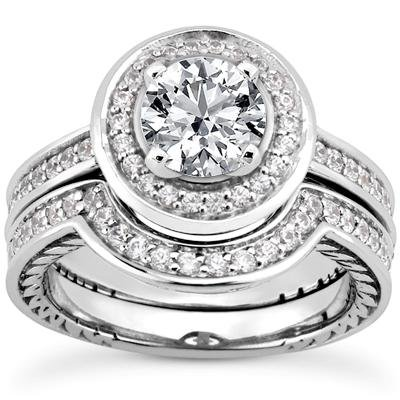 1.49 ct TW Round Diamond Antique Style Engagement Ring with Form Fit Matching Wedding Band Rings in 14 kt White Gold in Size 7.5