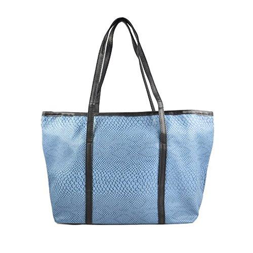 SODIAL (R) Koreanische Dame PU-lederne Handtasche Schultertasche - Blau