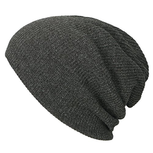 ililily Ribbed Knit Beanie Cap Skull Hat Neck Snood Grayish Green